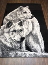 Modern Rugs 8x5ft 160x230cm Woven Black/Grey Good Quality Wolves Stunning Design